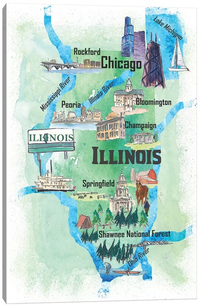 USA, Illinois Illustrated Travel Poster Canvas Art Print