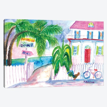 Key West Pink House And Signpost With Bike Canvas Print #MMB480} by Markus & Martina Bleichner Canvas Print