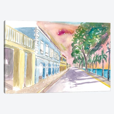 Frederiksted Us Virgin Islands Colonial Promenade At Sunset St Croix Canvas Print #MMB481} by Markus & Martina Bleichner Canvas Art Print