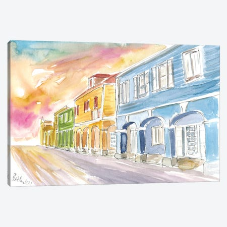Christiansted Us Virgin Islands Colonial Street Scene At Sunset St Croix Canvas Print #MMB482} by Markus & Martina Bleichner Canvas Print