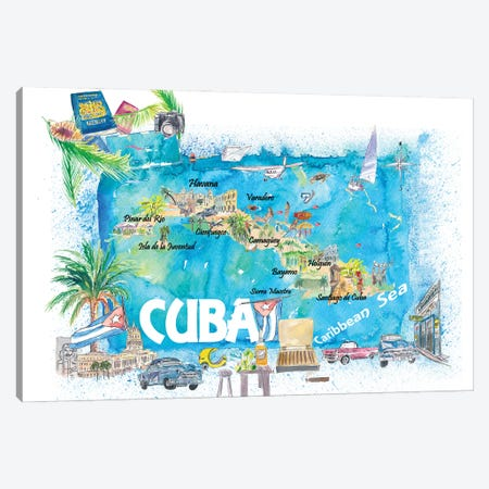 Cuba Antilles Illustrated Travel Map With Roads And Highlights Canvas Print #MMB484} by Markus & Martina Bleichner Canvas Art