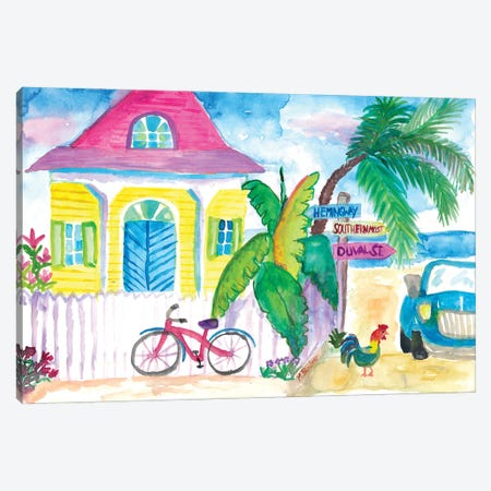 Yellow_Conch_House_Tropical_Street_Scene_With_Bike_And_Rooster Canvas Print #MMB485} by Markus & Martina Bleichner Canvas Artwork