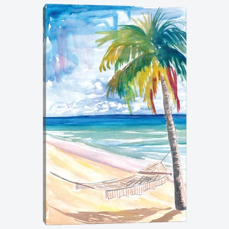 Hammock Palm Turquoise Sea At Lonely Caribbean Beach Canvas Print #MMB487} by Markus & Martina Bleichner Canvas Artwork