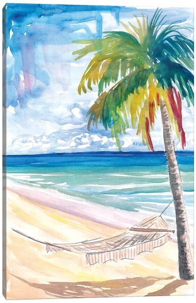 Hammock Palm Turquoise Sea At Lonely Caribbean Beach Canvas Art Print