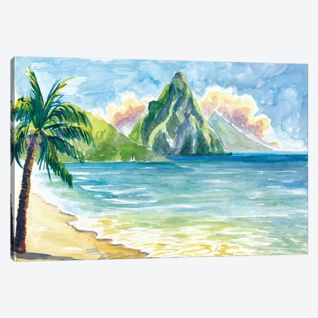 Pitons Saint Lucia With Incredible Caribbean Sunset With Soufriere Bay Canvas Print #MMB489} by Markus & Martina Bleichner Canvas Print