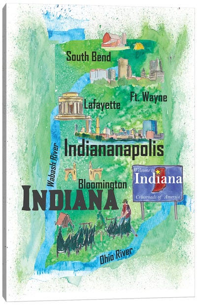 USA, Indiana Illustrated Travel Poster Canvas Art Print