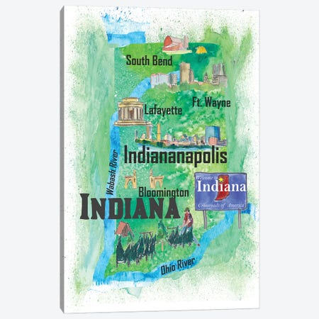 USA, Indiana Illustrated Travel Poster Canvas Print #MMB48} by Markus & Martina Bleichner Art Print