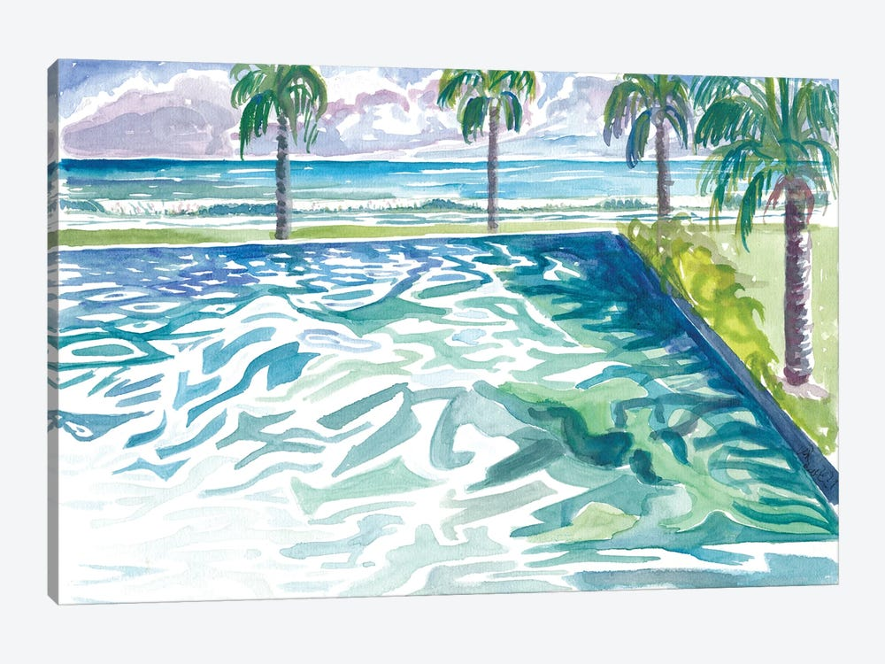 Infinity Pool With Tropical Seaview And Waves by Markus & Martina Bleichner 1-piece Canvas Wall Art