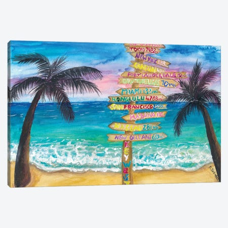 Tropical Southernmost Sunset Wanderlust Signpost In Key West Canvas Print #MMB499} by Markus & Martina Bleichner Canvas Art