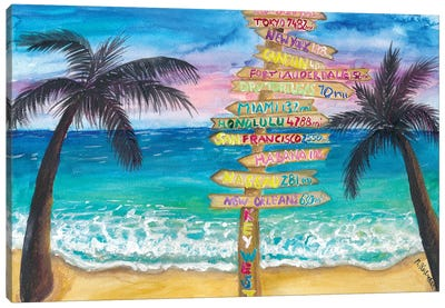 Tropical Southernmost Sunset Wanderlust Signpost In Key West Canvas Art Print