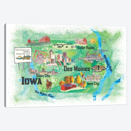 USA, Iowa Illustrated Travel Poster Canvas Print #MMB49} by Markus & Martina Bleichner Art Print