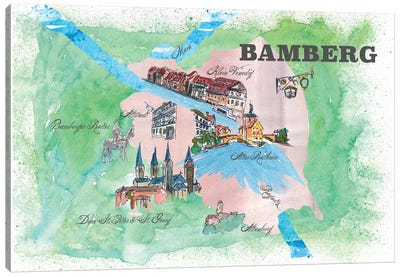 Bamberg, Germany Travel Poster Canvas Art Print