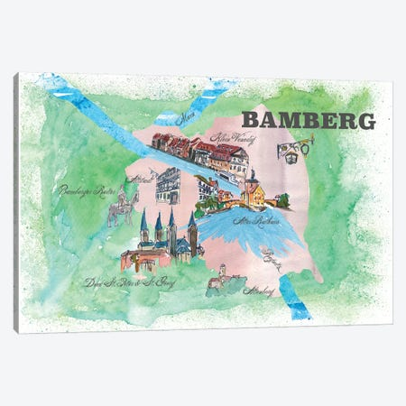 Bamberg, Germany Travel Poster Canvas Print #MMB4} by Markus & Martina Bleichner Canvas Art