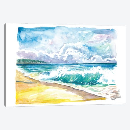 Seven Mile Beach Grand Cayman With Turquoise Waves Canvas Print #MMB500} by Markus & Martina Bleichner Canvas Art