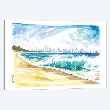 New Jersey Beach View With Breaking Waves And Manhattan Skyline Canvas Print #MMB501} by Markus & Martina Bleichner Canvas Wall Art