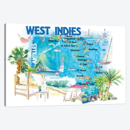 West Indies Illustrated Travel Map With Leeward And Windward Antilles Canvas Print #MMB502} by Markus & Martina Bleichner Canvas Art