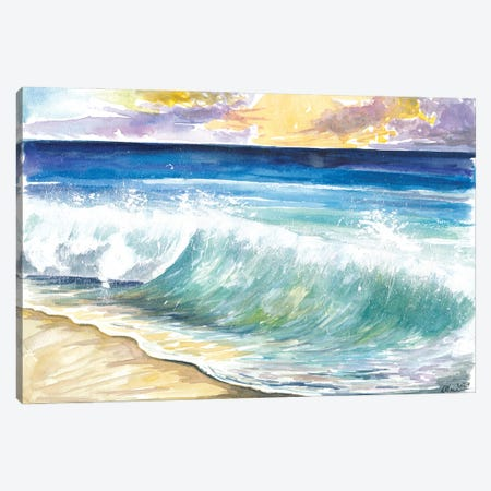 Breaking Eastern Caribbean Waves With Sunset On Antilles Island Canvas Print #MMB504} by Markus & Martina Bleichner Art Print