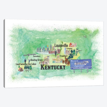USA, Kentucky Illustrated Travel Poster Canvas Print #MMB50} by Markus & Martina Bleichner Canvas Wall Art