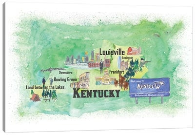 USA, Kentucky Illustrated Travel Poster Canvas Art Print