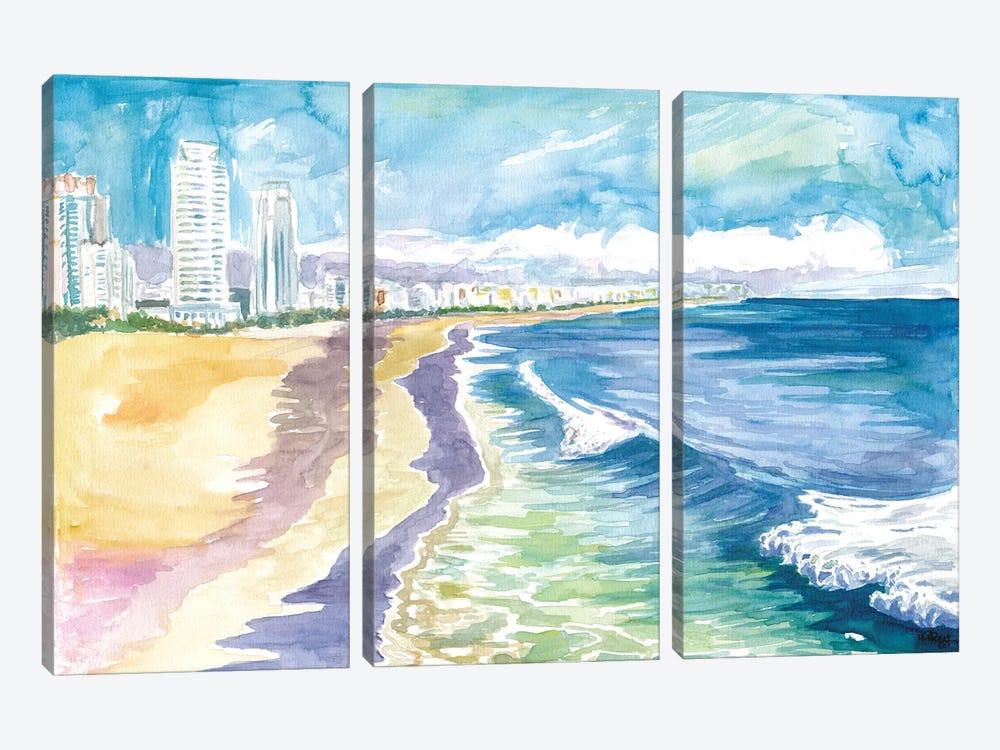 Quiet Morning In Miami Beach Fl by Markus & Martina Bleichner 3-piece Canvas Artwork