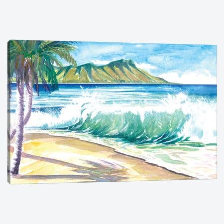Waikiki Waves With Ocean Spray In Honolulu Hawaii Canvas Print #MMB517} by Markus & Martina Bleichner Canvas Art