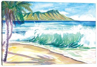 Waikiki Waves With Ocean Spray In Honolulu Hawaii Canvas Art Print