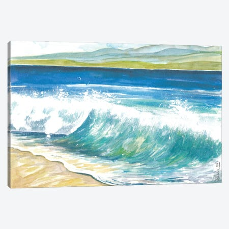 Beach Breaking Waves With Spray In The Bay Canvas Print #MMB519} by Markus & Martina Bleichner Canvas Art Print