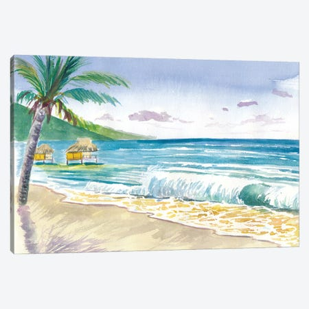 Tropical Beach Vibes In Bora Bora French Polynesia Canvas Print #MMB526} by Markus & Martina Bleichner Canvas Art Print