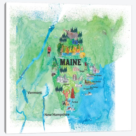 USA, Maine Travel Poster Canvas Print #MMB52} by Markus & Martina Bleichner Canvas Wall Art