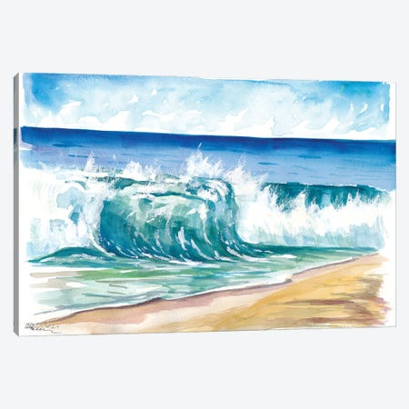 Flamands Beach Breaking Waves In St. Barth Canvas Print #MMB535} by Markus & Martina Bleichner Canvas Wall Art