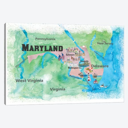 USA, Maryland Travel Poster Canvas Print #MMB53} by Markus & Martina Bleichner Canvas Art