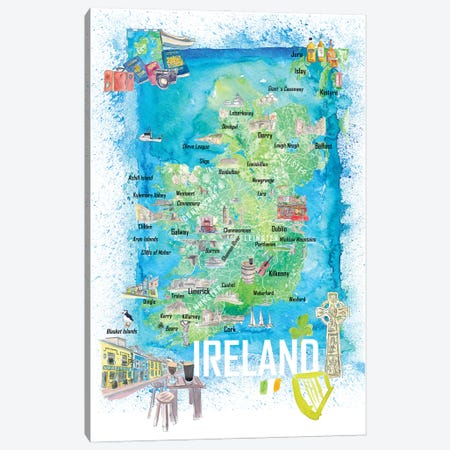 Ireland Illustrated Travel Map With Roads And Highlights Canvas Print #MMB548} by Markus & Martina Bleichner Canvas Art