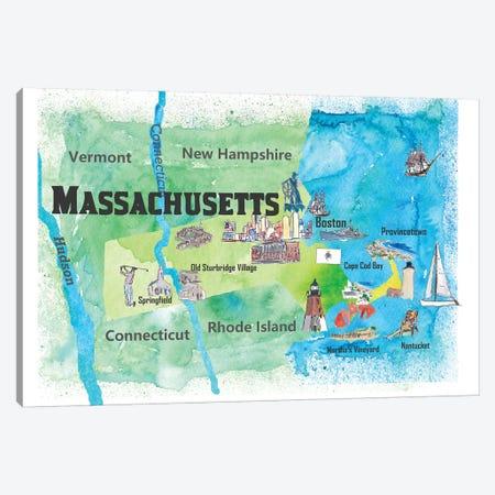 USA, Massachusetts Travel Poster Canvas Print #MMB54} by Markus & Martina Bleichner Canvas Art Print