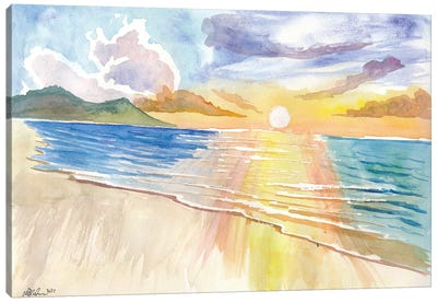 Maui Hawaii Lonely Beach Scene With Sunset Canvas Art Print