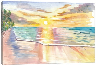 Tropical Sunset In Quiet Bay In Hawaii Canvas Art Print