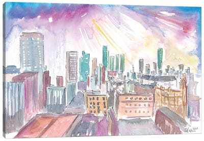 Manchester England Skyline With Sunset Canvas Art Print