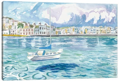 Mykonos With Floating Sailing Boat On Turqoise Aegean Waters Canvas Art Print