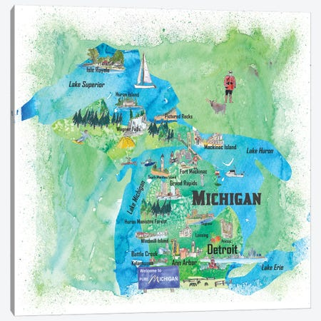 USA, Michigan Illustrated Travel Poster Canvas Print #MMB55} by Markus & Martina Bleichner Art Print