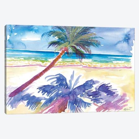 Palm Shadow Under Caribbean Sun With Beach And Sea Canvas Print #MMB561} by Markus & Martina Bleichner Canvas Artwork