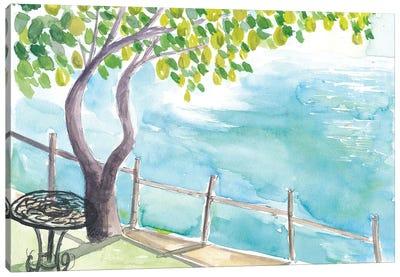View Of Amalfi Coast With Lemon Tree Garden Canvas Art Print