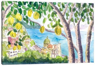 Amalfi Coast Seaview With Fresh Limes On Tree Canvas Art Print