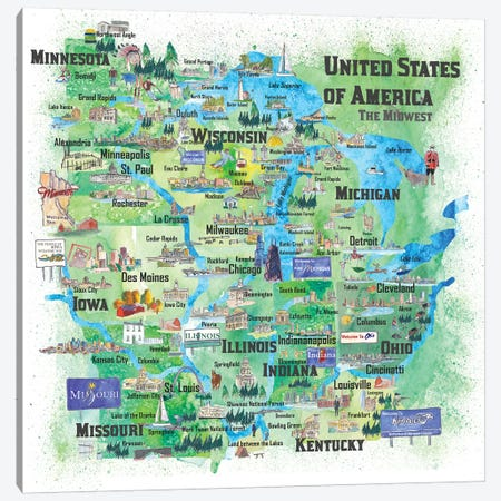 USA, Midwest States Travel Map Canvas Print #MMB56} by Markus & Martina Bleichner Canvas Art Print