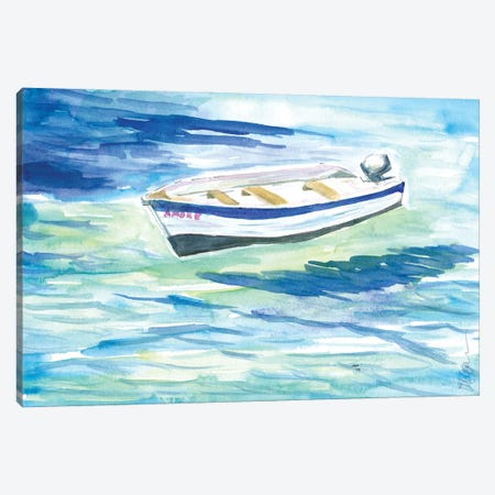 Lonely Boat In Turquoise Waters Canvas Print #MMB575} by Markus & Martina Bleichner Canvas Art