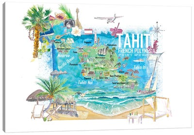 Tahiti Illustrated Travel Map With Roads And Highlights Canvas Art Print