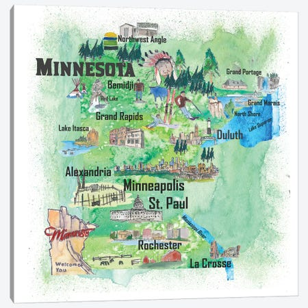 USA, Minnesota Illustrated Travel Poster Canvas Print #MMB57} by Markus & Martina Bleichner Canvas Art Print