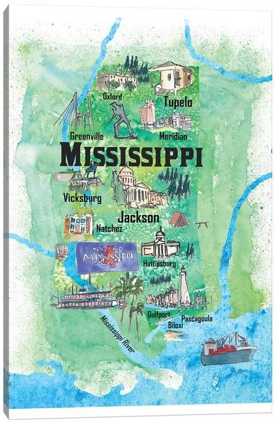USA, Mississippi Illustrated Travel Poster Canvas Art Print