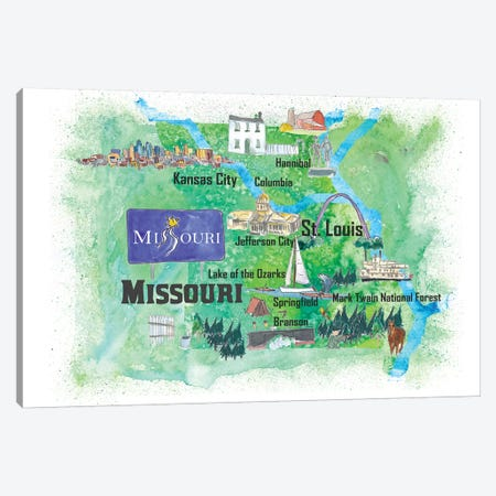 USA, Missouri Illustrated Travel Poster Canvas Print #MMB59} by Markus & Martina Bleichner Canvas Art