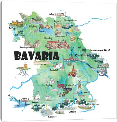 Bavaria, Germany Illustrated Travel Poster Canvas Art Print