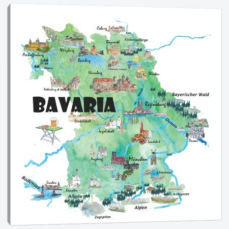 Bavaria, Germany Illustrated Travel Poster Canvas Print #MMB5} by Markus & Martina Bleichner Canvas Artwork