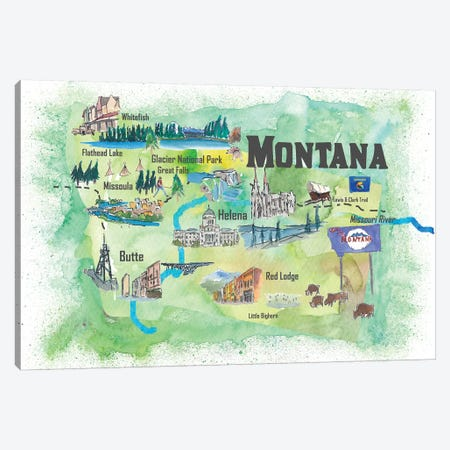 USA, Montana Illustrated Travel Poster Canvas Print #MMB60} by Markus & Martina Bleichner Canvas Art Print